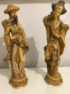Pair Of Japanese Painted Heavy Resin Figurines/statues.