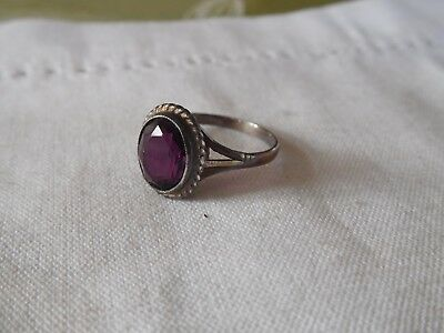 Beautiful Vintage 1950s Genuine AMETHYST Sterling Silver Dress Ring   size L