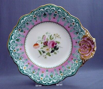 """#12 Antique c1851 -67 Copeland Spode Hand Painted 9"""" Bowl Pink Gold Flowers"""