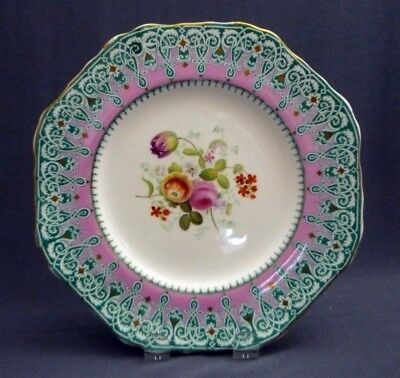 """#11 Antique c1851 -67 Copeland Spode Hand Painted 9"""" Plate Pink Gold Flowers"""