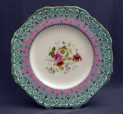 """#1 Antique c1851 -67 Copeland Spode Hand Painted 9"""" Plate Pink Gold Flowers"""