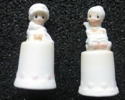 Two Precious Moments Thimbles Mother Sew Dear & Purrfect Grandma Mothers Day
