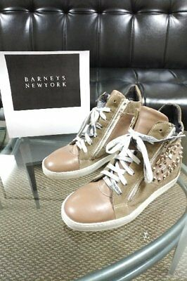 Barneys NY Leather & Suede Platform Studded Sneakers..Sz 37 (7).Mint..ITALY-$595