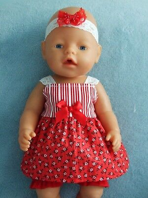"""BABY BORN 17"""" dolls clothes / DRESS ~ BLOOMERS ~HEADBAND / red flowers ~ stripes"""
