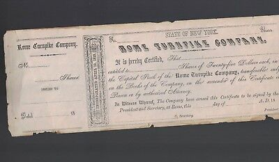 Rome Turnpike Company New York 1820s Capital Stock Certificate Oneida Plank Road