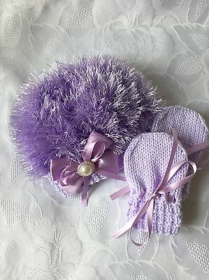 Hand Knitted Baby Girls Lilac  Eyelash Wool. Beanie  Hat & Mittens 0- 3 mths
