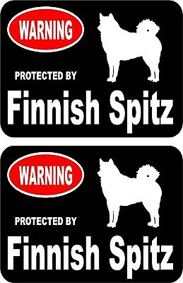2 protected by Finnish Spitz dog car home window vinyl decals stickers #A