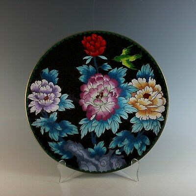 """Old Antique Chinese Cloisonne 12"""" Blue Charger with Bird Flower Motif"""