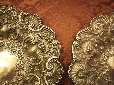 """ANTIQUE - PAIR of European Charger Plates - Heavy Pewter - 12.6"""" Inch (32cm)"""