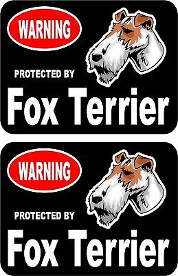 2 protected by Fox Terrier dog car home window vinyl decals stickers #C