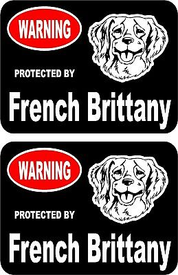 2 protected by French Brittany dog car home window vinyl decals stickers #A