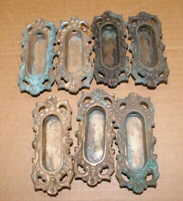 6 Antique Matching FANCY Solid Cast  Brass Window Lifts