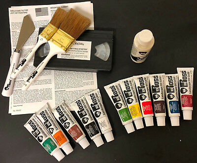Vtg BOB ROSS LANDSCAPE Oil Paint Brushes Knife Video Instructions unused?