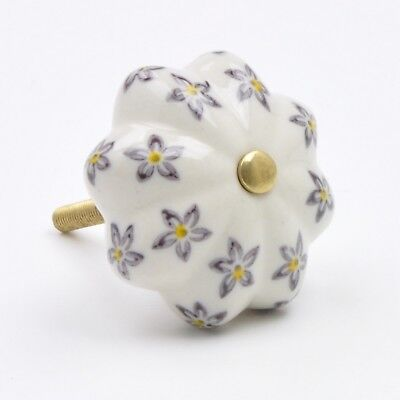 Hand-Painted Pretty Floral Flower Ceramic Knob, Pull, Handle, for Cupboards, Doo