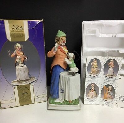 Vintage WACO ~ MELODY IN MOTION MUSIC BOX PORCELAIN CLOWN w/Dog~Original Box