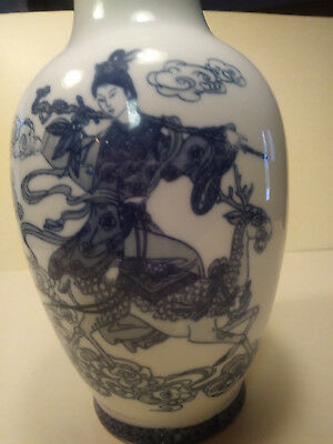 """Antique Oriental Vase Blue & White """"Queen Mother of the West"""" XiWangMu Good Cond"""