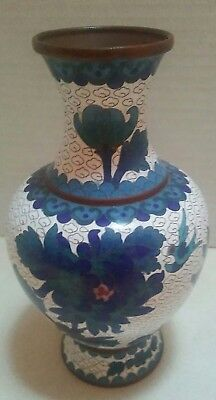 Vintage Chinese Cloisonne Blue And White Vase