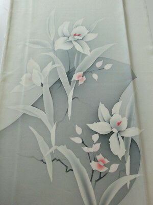 2H04z70 Japanese Kimono Silk  FABRIC Light gray Orchid 45.7""