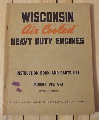 Original Wisconsin Air Cooled Engine Instruction Parts Manual Mod. VF4 VE4 Nice