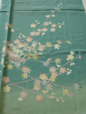 2H04z70 Japanese Kimono Silk  FABRIC Blue-Green Maple 46.5""