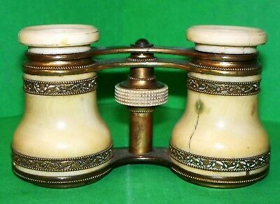 Antique French Opera Glasses Decorative Bronze Work Gold Plated Made Of Bone