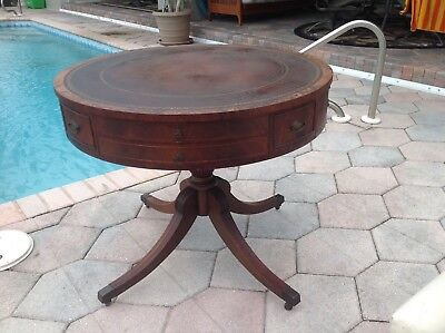 Antique Vintage Weiman Leather Top Drum Table Heirloom Quality Furniture