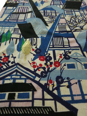 1K01z70 Vintage Japanese Kimono Silk  FABRIC Off-white Old Japanese house 48""