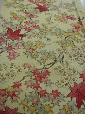 1W03z80 Japanese Kimono Silk  FABRIC Light yellow Maple, Plum branch 59.1""