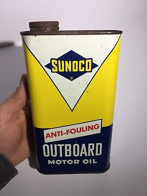 Rare & Clean Sunoco Outboard Motor Oil Imperial Quart Tin Can Sign Canada