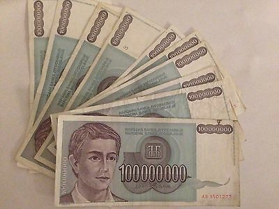 100 Pieces 100 Million Yugoslavia Dinar Vf-Xf Grade Inflation Dinara Note P124