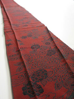3L07z50 Japanese Kimono Crepe Silk  FABRIC Red-Brown Flowers 61.4""