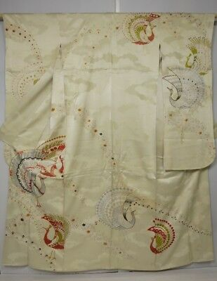 5014M01z1010 Vintage Japanese Kimono Silk FURISODE Light cream Peacock