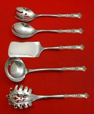 Peony By Wallace Sterling Silver Hostess Serving Set HHWS 5pc Custom
