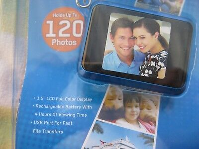 "Coby DP-161 1.5"" LCD Digital Picture Keychain Holds 120 Photos - Blue"