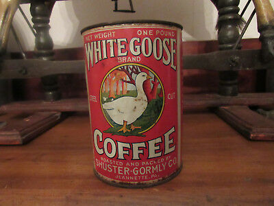 Old White Goose Coffee Tin Shuster-Gormly Jeannette Pa One Pound Can Container