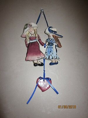 Sisters Wall Hanger Blue Sky Clayworks by Artist Heather Goldminc