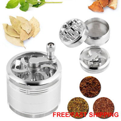 OZ J Smoke Grinder Herb Aluminum Hand Crank Herbal Tobacco Grinders 4-layer AU