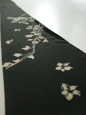 3H08z40 Vintage Japanese Kimono Silk  FABRIC Black Weeping cherry 55.1""