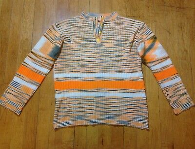 Vintage 70's Retro Neon Creamsicle Striped Ribbed Disco Henley Sweater Top Shirt