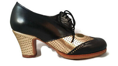 Flamenco Shoes Professionals brand new black and gold leather different sizes