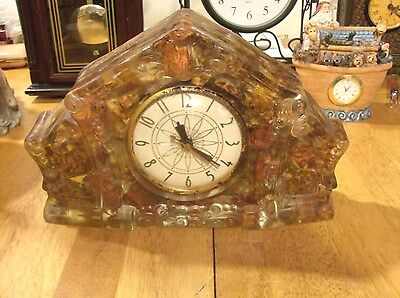 Vintage Lanshire Electric Mother Of Pearl  Desk/Mantel Clock  Chicago Illinois