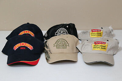 Lot of 6 Grocery store hats caps. Malt-o-Meal. Crystal Farms. Land O Lakes