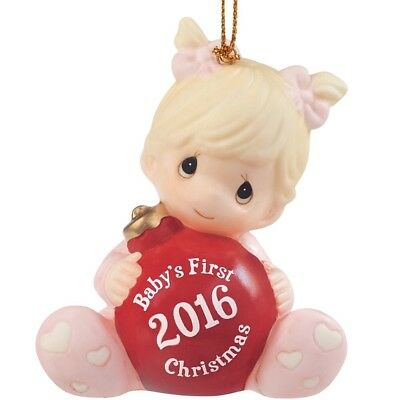 Precious Moments Baby Girl's First Christmas Ornament 2016 Edition NEW!