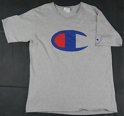 57a663092 Rare Vintage CHAMPION Big Crest Logo Retro T Tee Shirt 90s Gray Hip Hop  Size XL