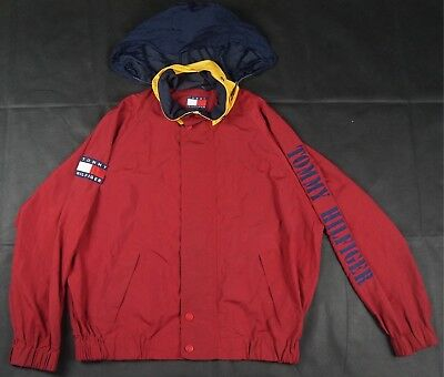 3b7a33b4 Rare Vintage TOMMY HILFIGER Spell Out Color Block Flag Ventilated Jacket 90s  XL