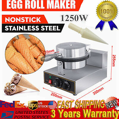 110V Electric Commercial Stainless Nonstick Ice Cream Cone DIY Egg Roll Maker US