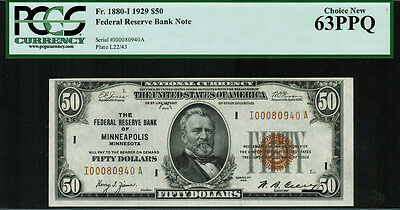 1929 $50 Federal Reserve Bank Note (FRBN) - Minneapolis - FR.1880-I - PCGS 63PPQ