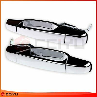 Pair Chrome Exterior Door Handle Rear Rear Right + Left for 07-13 Chevy Pickup