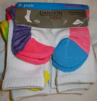 Danskin Now Girls Crew Socks 6 Pair Size Medium 10.5-4 Multi Color NEW