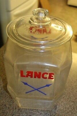 "Rare Vintage Large Lance Glass Cracker Jar Store Counter Display 12"" Tall 8 Side"